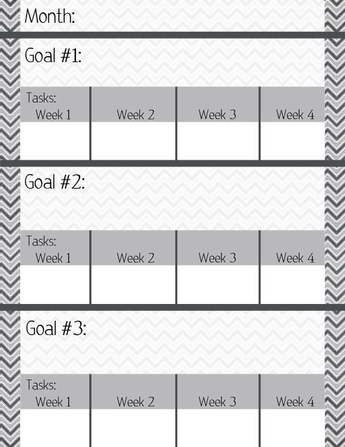 monthly goal sheet post graphic simply vicki