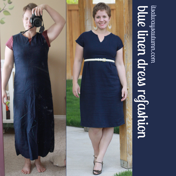 Blue Linen Dress Refashion