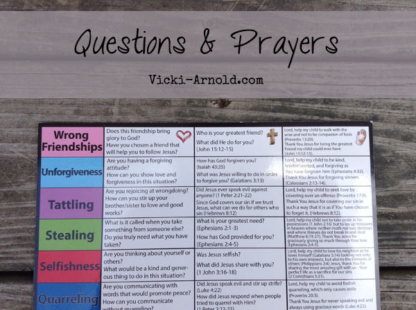 Questions and sample prayers on the back to help you along.