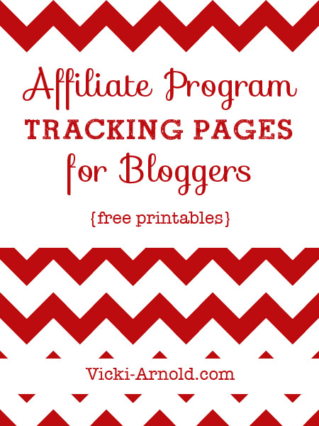 Free printable affiliate program tracking pages for bloggers.