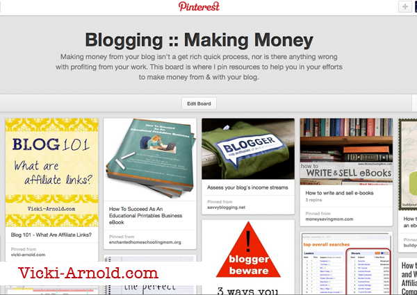 Blogging: Making Money - my Pinterest board for articles related to making money with your blog. Like affiliate marketing and selling ads.