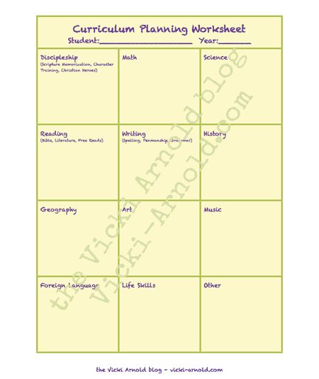 Free curriculum planning pages color-coordinted with The Ultimate Homeschool Planner by Debra Bell.