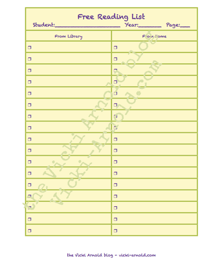A printable to keep track of free reading options for your homeschool student.
