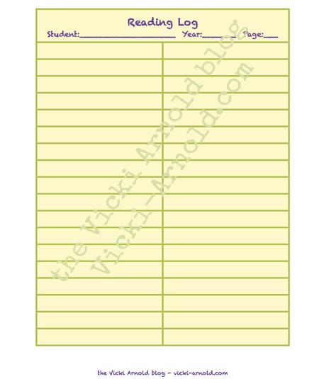 Free reading log printable, great for homeschool or summer reading programs.