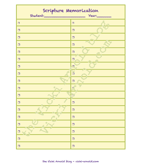 Track what Bible verses you want to memorize for scripture study and check them off as you go with this free printable.