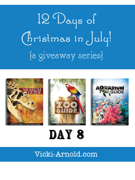 Day 8 of the 12 Days of Christmas in July giveaway series is a book set from Answers in Genesis. The Zoo, Aquarium, and Museum guides. www.vicki-arnold.com