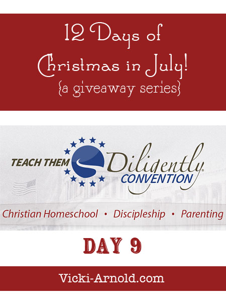12 Days of Christmas in July giveaway series @ www.vicki-arnold.com :: Day 9 - a family registration to Teach Them Diligently homeschool convention 2014!