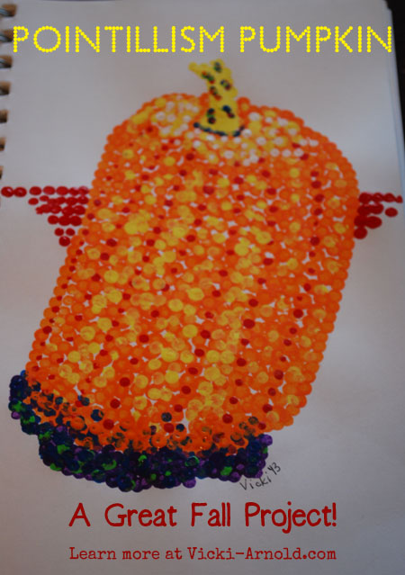 Create pointillism pumpkin for a fun fall project!