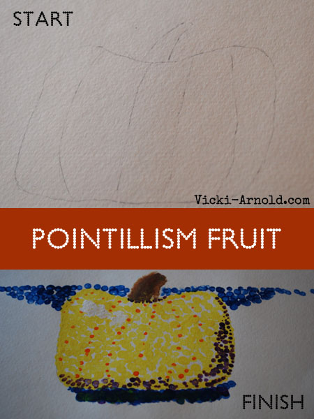 See The Light's Art Project: Pointillism Fruit taught my daughter how to create this!