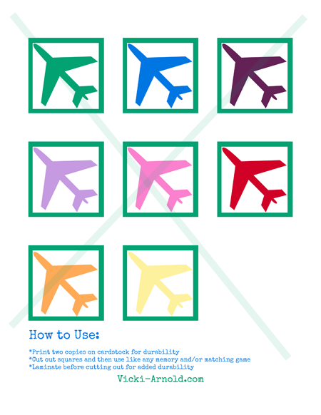 Airplane matching memory game from Vicki-Arnold.com