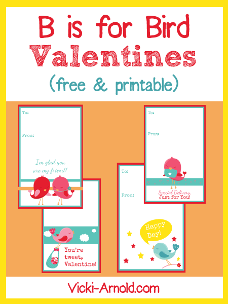 B is for Bird Valentines (free & printable) from Vicki-Arnold.com
