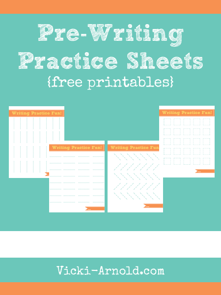 Pre-Writing Practice Worksheets (free printable) from Vicki-Arnold.com