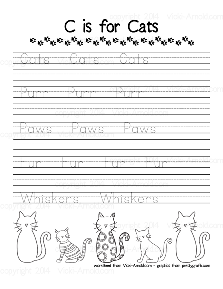 C is for Cats Handwriting Page from Vicki-Arnold.com