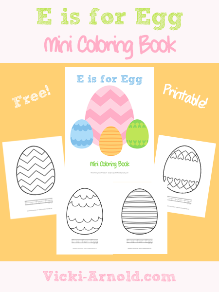 E is for Egg mini coloring book from Vicki-Arnold.com