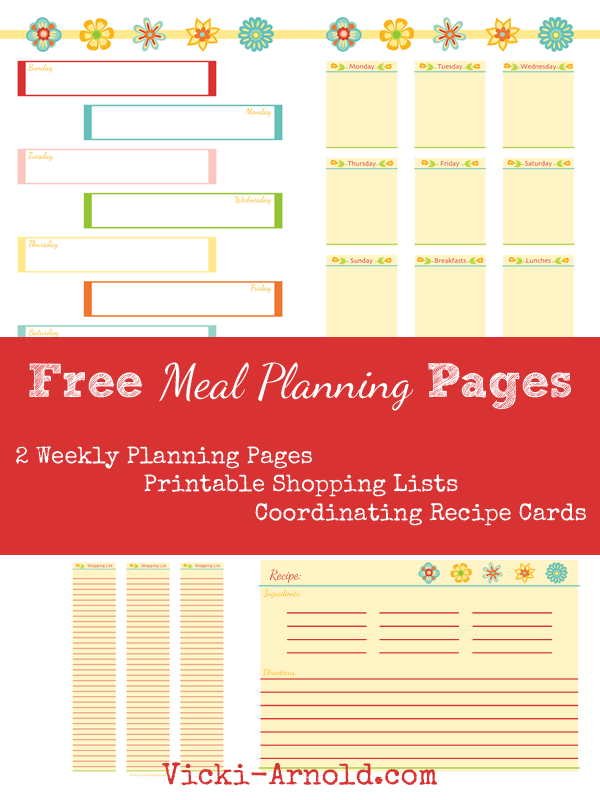Free Meal Planning Pages from Vicki-Arnold.com