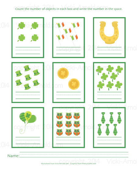 St. Patrick's Day Counting Practice Worksheet at Vicki-Arnold.com