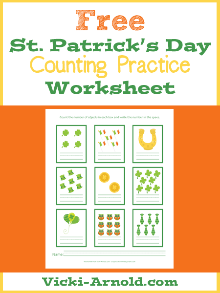 Free St. Patrick's Day Counting Practice Worksheet from Vicki-Arnold.com