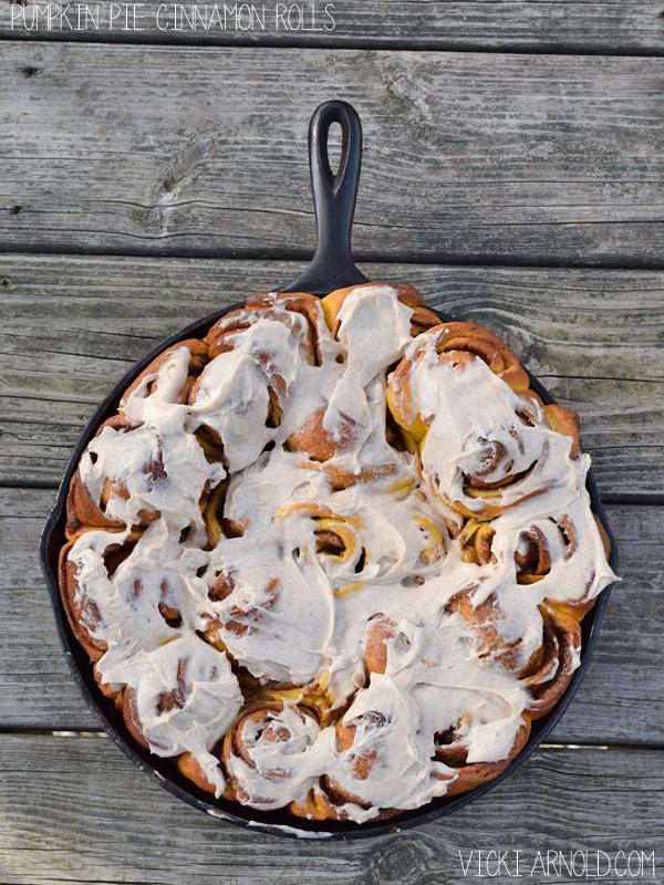 Pumpkin Pie Cinnamon Rolls recipe | Vicki-Arnold.com
