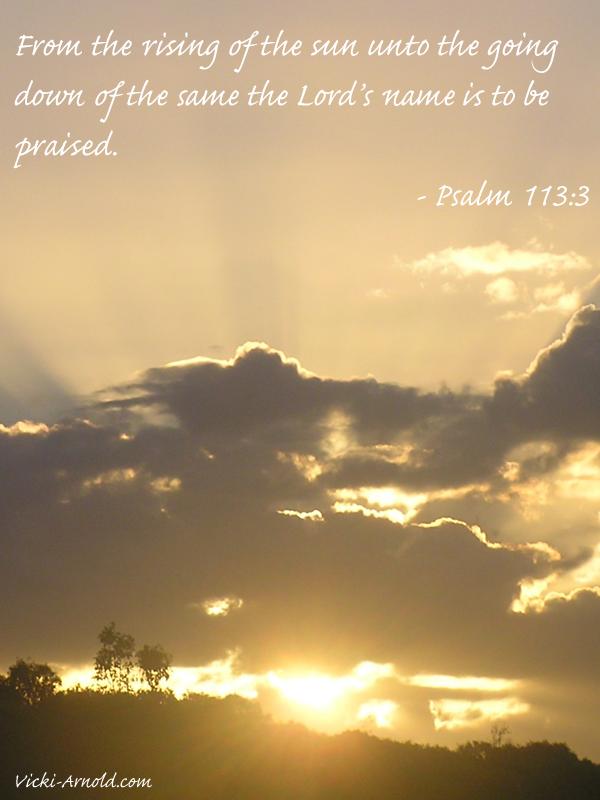 Sunday Psalms - Psalm 113:3 - vicki-arnold.com