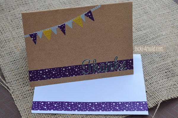 Easy Washi Tape Craft: Thank you card and coordinating envelope.